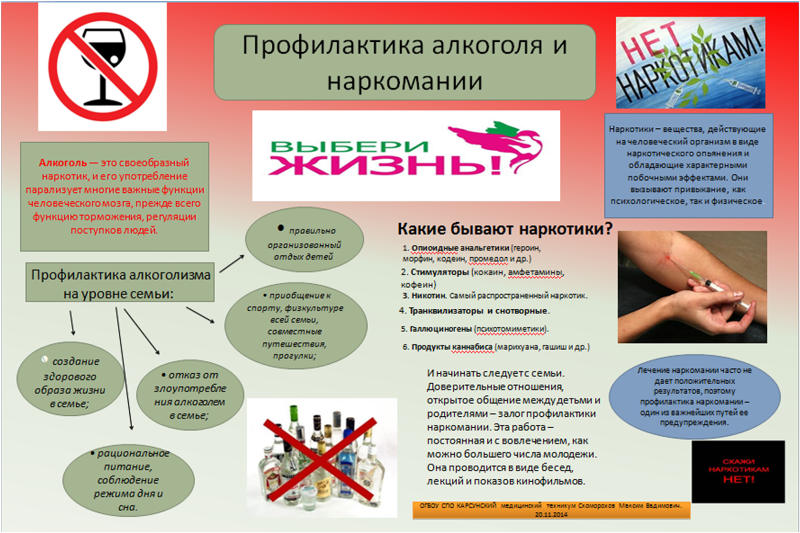 План работы по профилактике алкоголизма и наркомании
