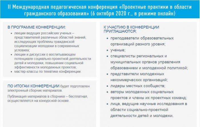 II Международная пед.конференция «Проектные практики в области гражданского образования»